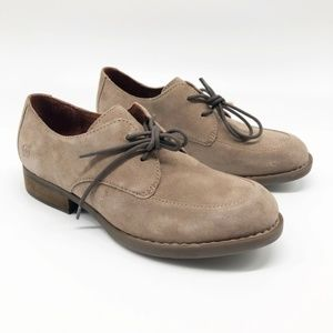 BORN Rora Derby Taupe Suede Oxford Shoes
